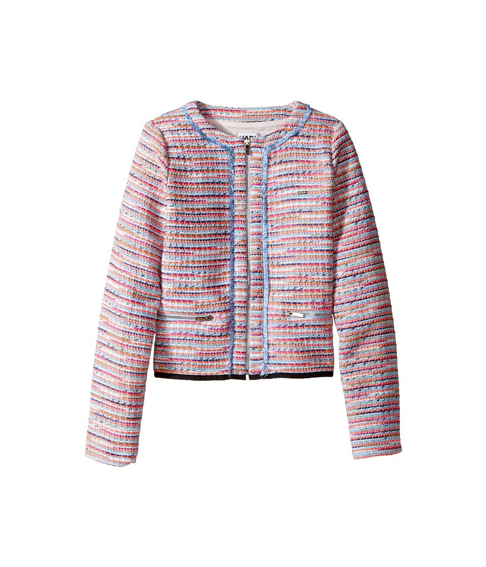 Karl Lagerfeld Kids - Tweed Jacket w/ Fringe and Black Trim (Big Kids) (Multi) Girl's Coat