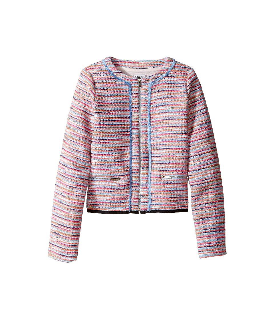 Karl Lagerfeld Kids - Tweed Jacket w/ Fringe and Black Trim (Big Kids) (Multi) Girl's Coat
