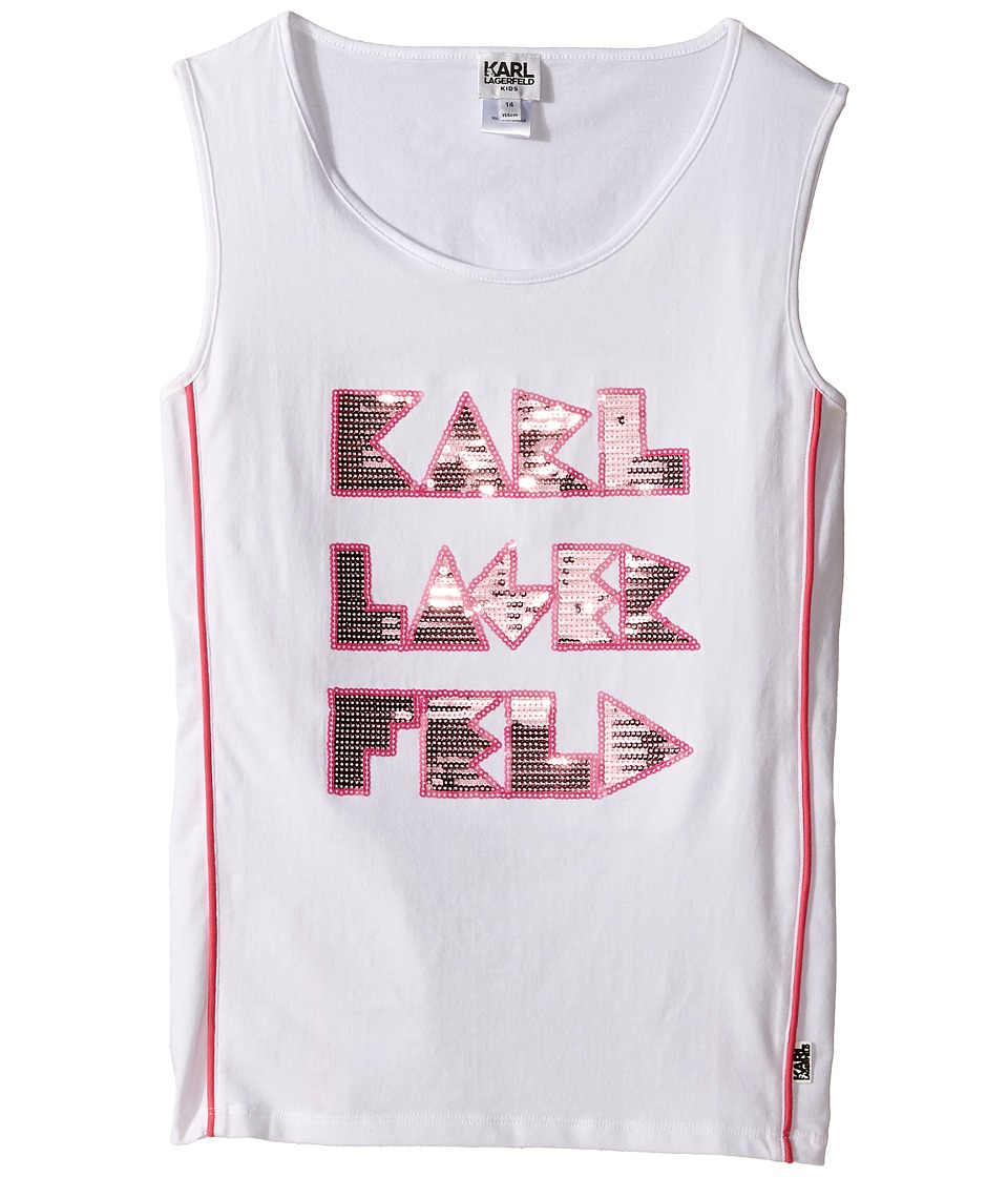 Karl Lagerfeld Kids - Tank Top w/ Contrast Piping Sequin Graphics (Big Kids) (White) Girl's Sleeveless