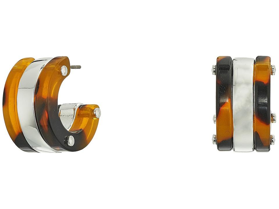LAUREN Ralph Lauren - Metal 3/4 Hoop Earrings (Silver/Tortoise) Earring