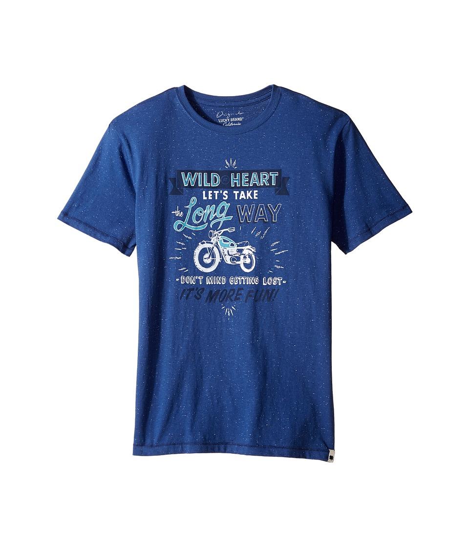 Lucky Brand Kids - Long Way Tee w/ Short Sleeves (Big Kids) (New Blue) Boy's T Shirt