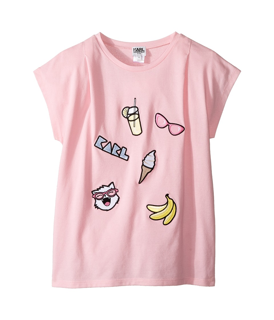 Karl Lagerfeld Kids - Short Sleeve Tee w/ Embroidered Patches (Big Kids) (Baby Pink) Girl's T Shirt