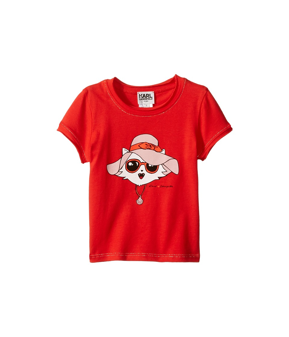 Karl Lagerfeld Kids - Short Sleeve Tee w/ Choupette Print Gold Lurex Stitch (Toddler) (Rouge Red) Girl's T Shirt