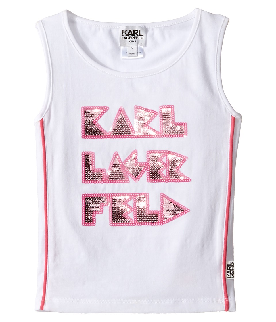 Karl Lagerfeld Kids - Tank Top w/ Contrast Piping Sequin Graphics (Toddler) (White) Girl's Sleeveless