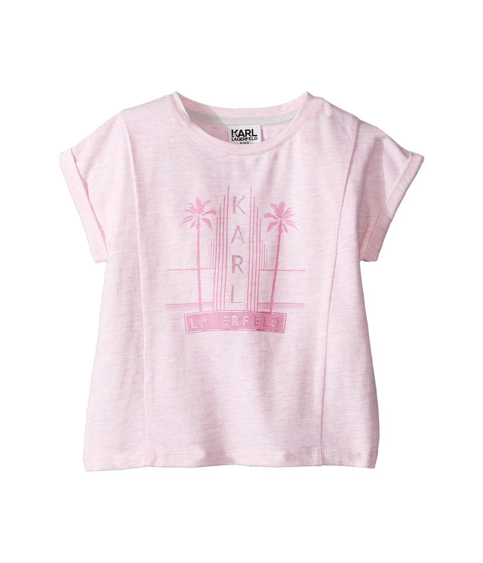 Karl Lagerfeld Kids - Short Sleeve Melange Jersey Tee w/ Miami Print (Toddler) (Light Pink) Girl's T Shirt