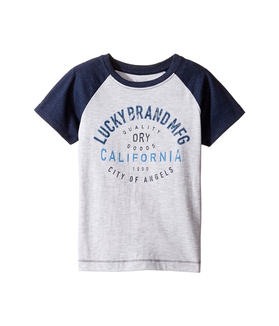 Lucky Brand Kids Dry Goods Raglan Tee w/ Short Sleeves (Toddler) (White Heather) Boy