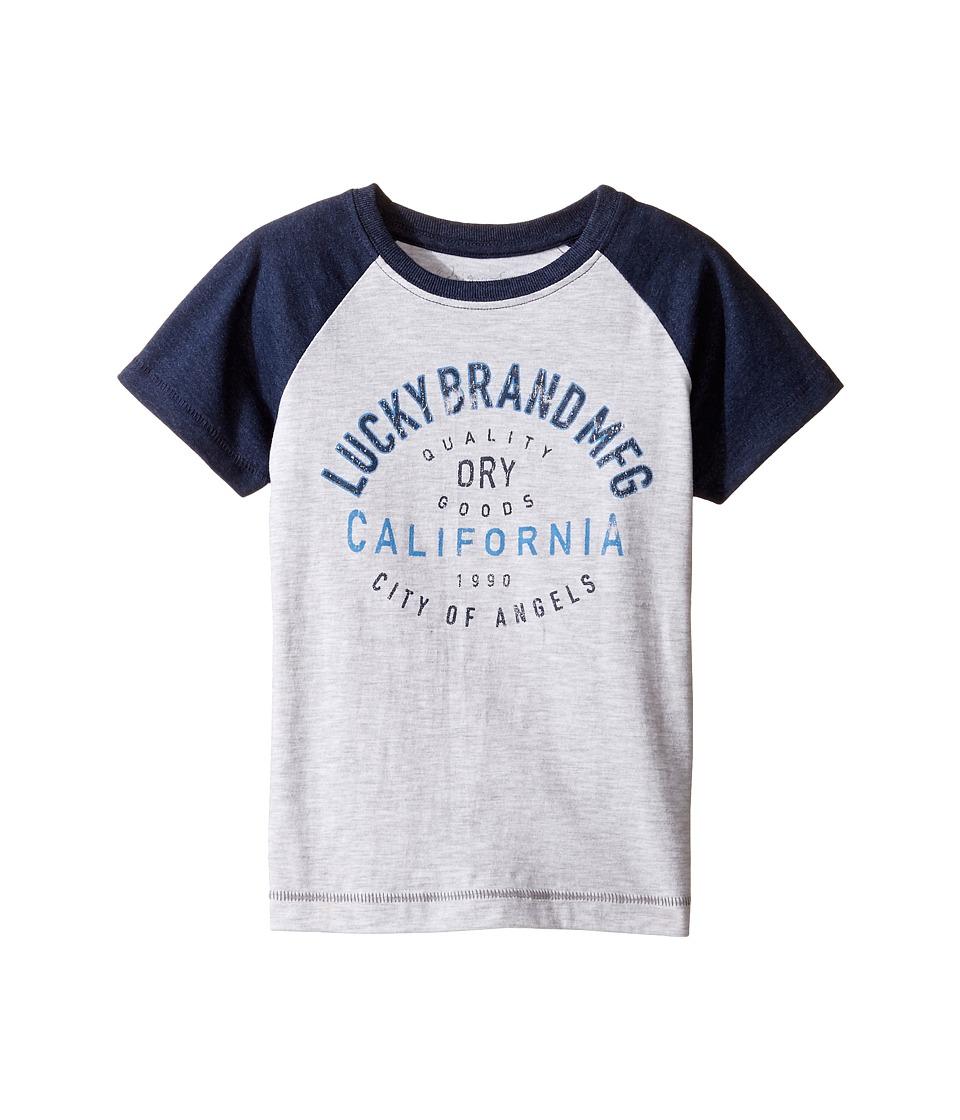 Lucky Brand Kids - Dry Goods Raglan Tee w/ Short Sleeves (Toddler) (White Heather) Boy's T Shirt