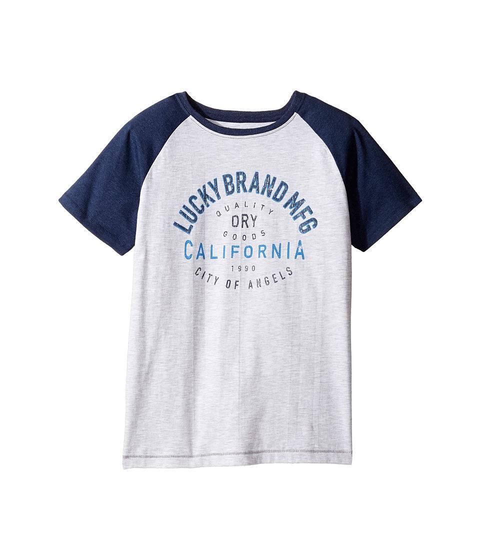 Lucky Brand Kids - Dry Goods Raglan Tee w/ Short Sleeves (Big Kids) (White Heather) Boy's T Shirt