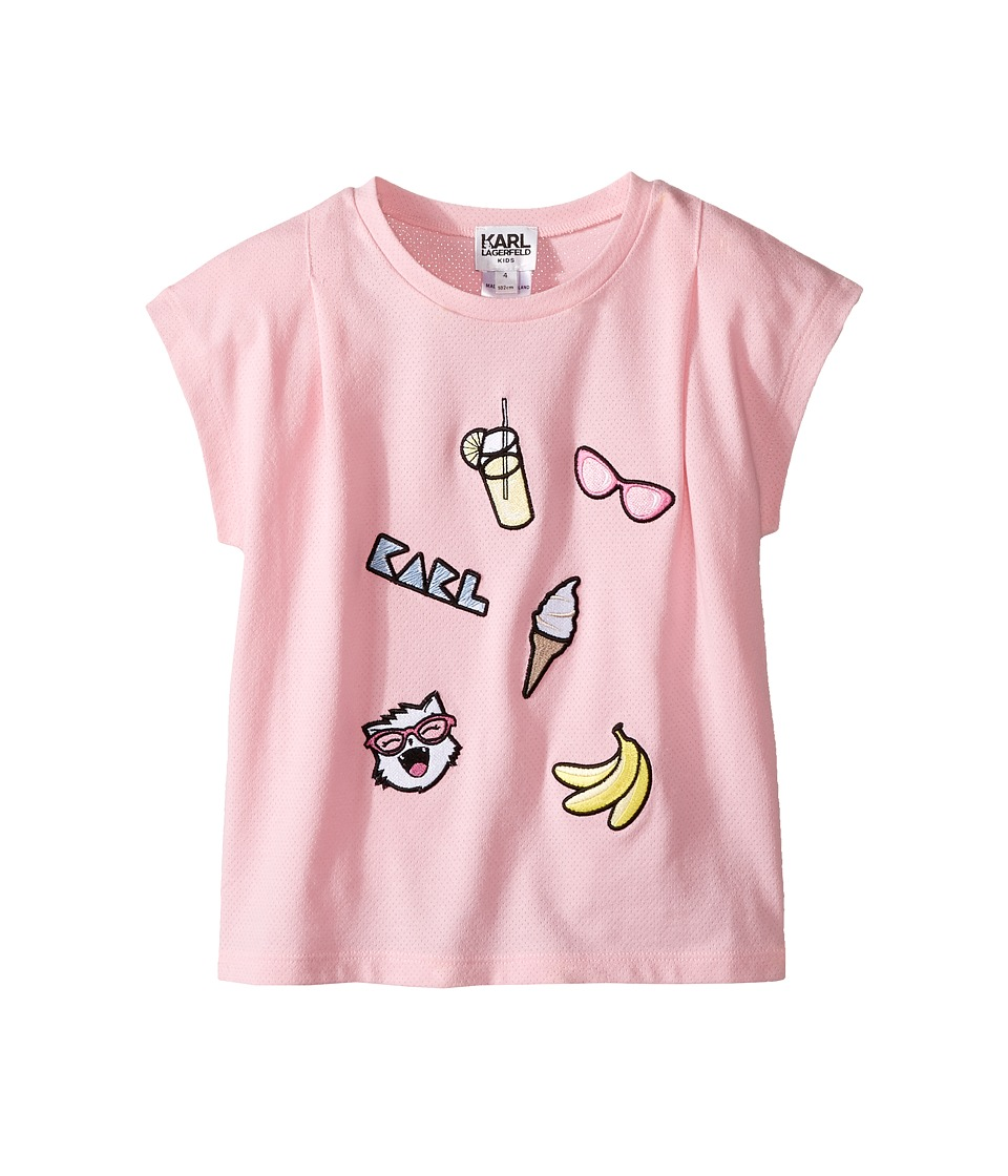 Karl Lagerfeld Kids - Short Sleeve Tee w/ Embroidered Patches (Toddler) (Baby Pink) Girl's T Shirt