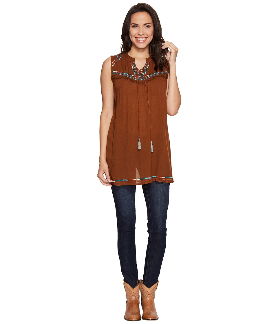 Scully - Gala Tie Front Tunic (Cinnamon) Women's Blouse