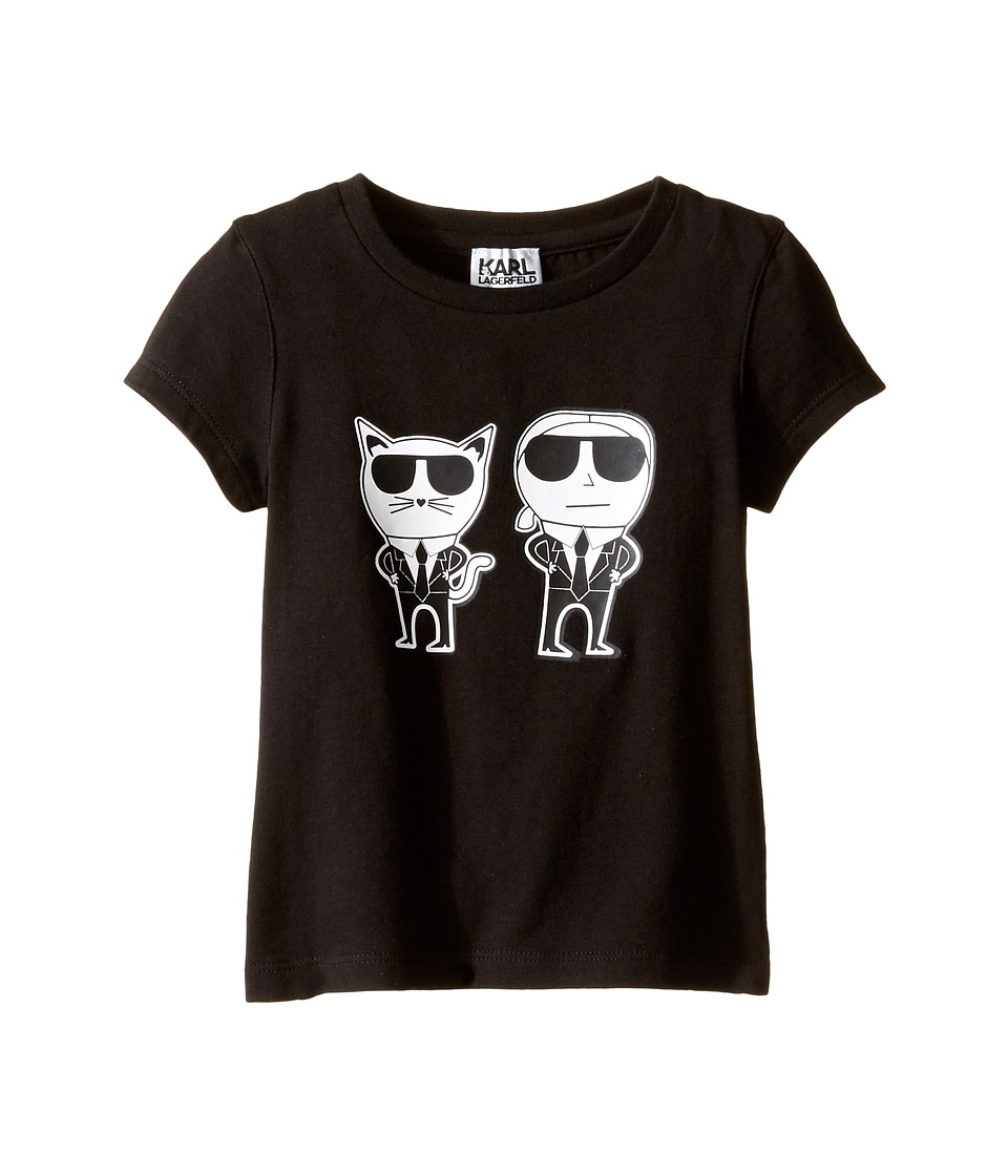 Karl Lagerfeld Kids - Short Sleeve Mini Me with Front/Back Print (Toddler) (Black) Girl's Clothing