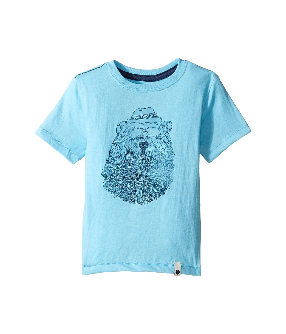 Lucky Brand Kids - Gentleman Bear Tee w/ Short Sleeves (Toddler) (Aqua Heather) Boy's T Shirt