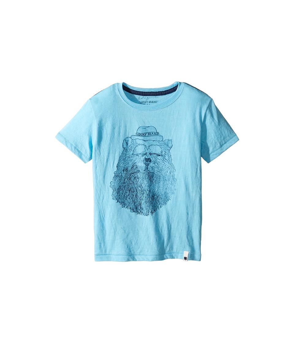 Lucky Brand Kids - Gentleman Bear Tee w/ Short Sleeves (Little Kids/Big Kids) (Aqua Heather) Boy's T Shirt