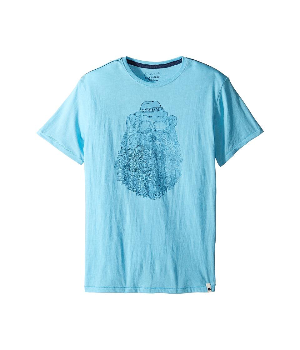 Lucky Brand Kids - Gentleman Bear Tee w/ Short Sleeves (Big Kids) (Aqua Heather) Boy's T Shirt