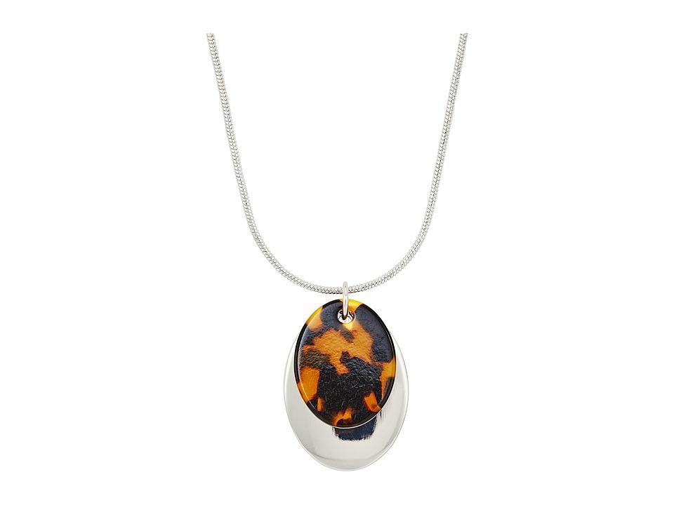 LAUREN Ralph Lauren - 16 Metal Pendant Necklace (Silver/Tortoise) Necklace