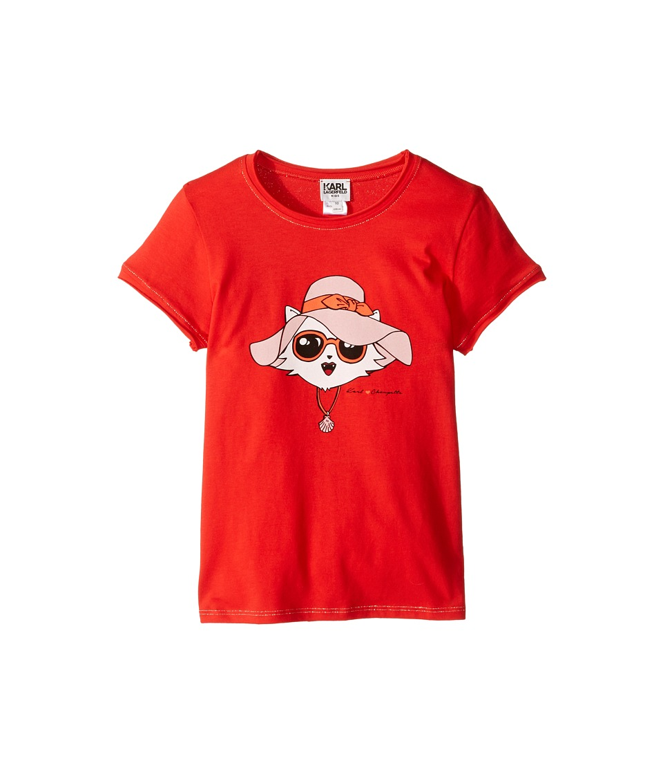 Karl Lagerfeld Kids - Short Sleeve Tee w/ Choupette Print Gold Lurex Stitch (Little Kids) (Rouge Red) Girl's T Shirt