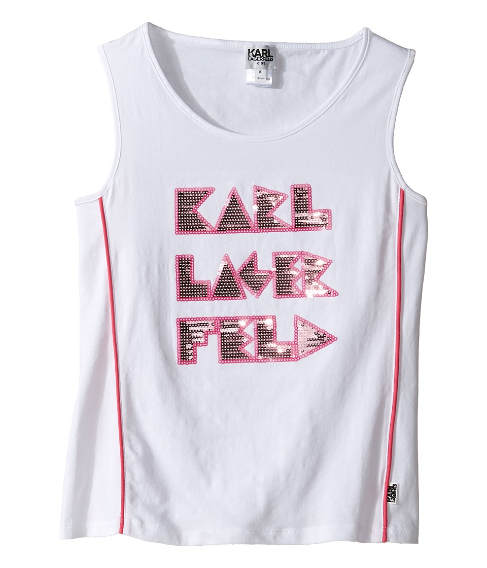 Karl Lagerfeld Kids - Tank Top w/ Contrast Piping Sequin Graphics (Little Kids) (White) Girl's Sleeveless