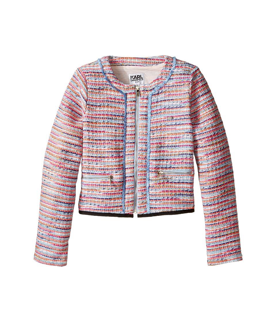 Karl Lagerfeld Kids - Tweed Jacket w/ Fringe and Black Trim (Little Kids) (Multi) Girl's Coat