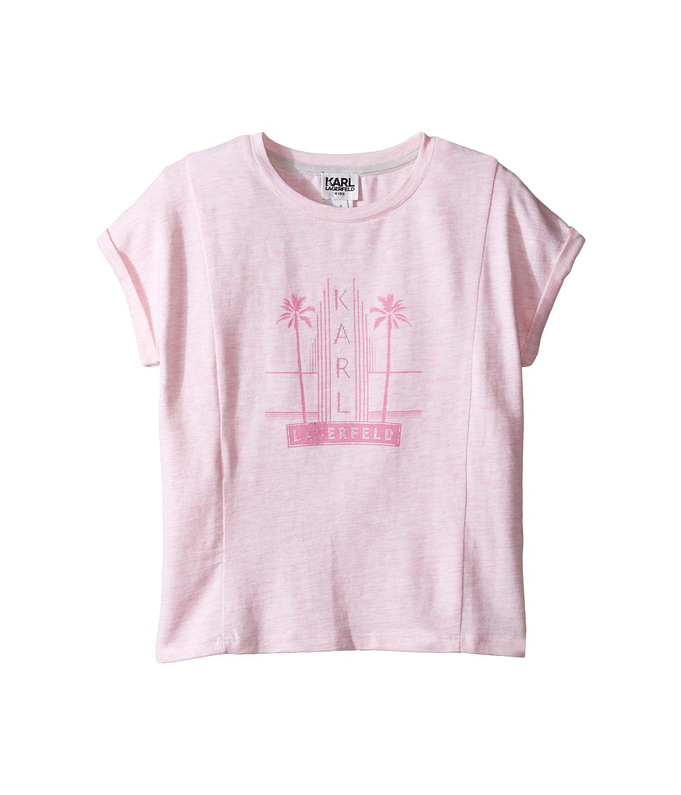 Karl Lagerfeld Kids - Short Sleeve Melange Jersey Tee w/ Miami Print (Little Kids) (Light Pink) Girl's T Shirt