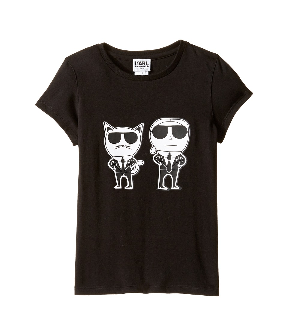 Karl Lagerfeld Kids - Short Sleeve Mini Me with Front/Back Print (Little Kids) (Black) Girl's Clothing