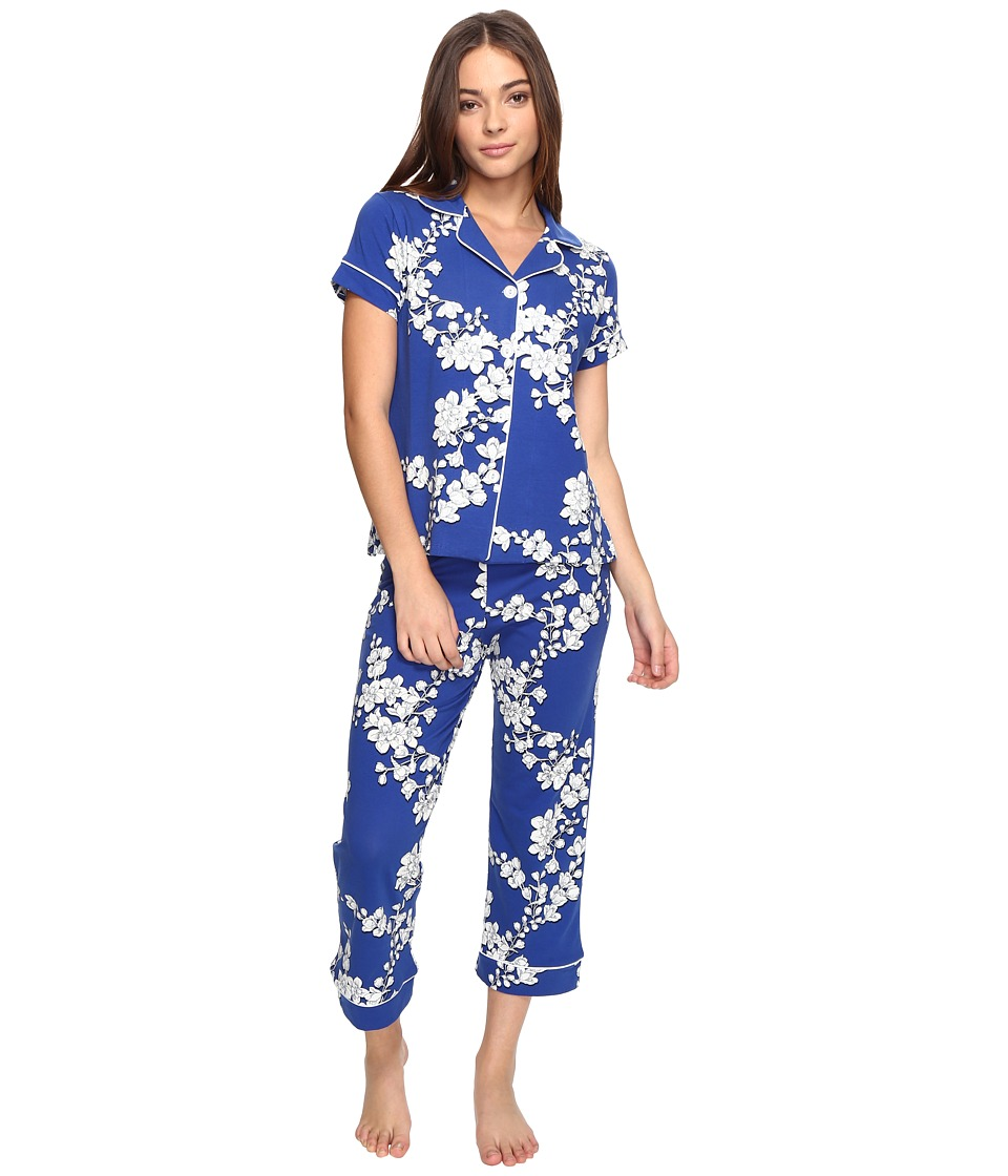 BedHead - Short Sleeve Cropped Pants PJ Set (Navy Shadow Blossom) Women's Pajama Sets