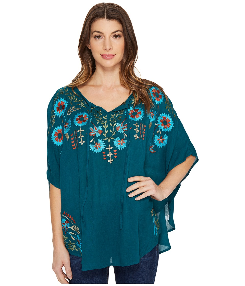 Scully - Dance Embroidered Top (Teal) Women's Clothing