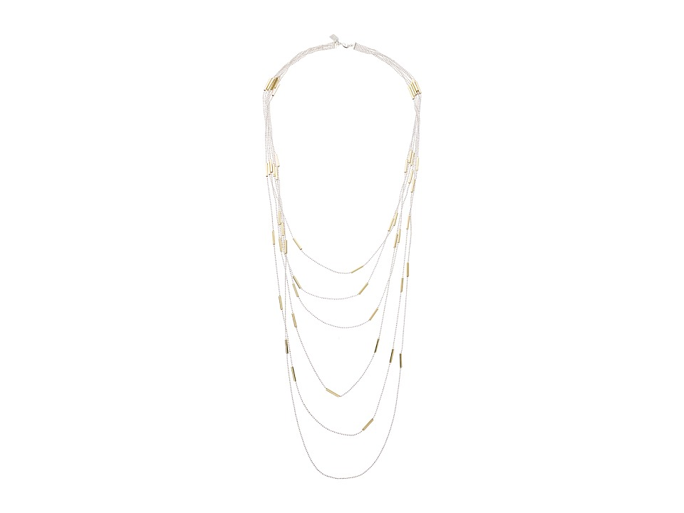 LAUREN Ralph Lauren - 32 Multi Row Beadshot and Tubes Necklace (Silver) Necklace