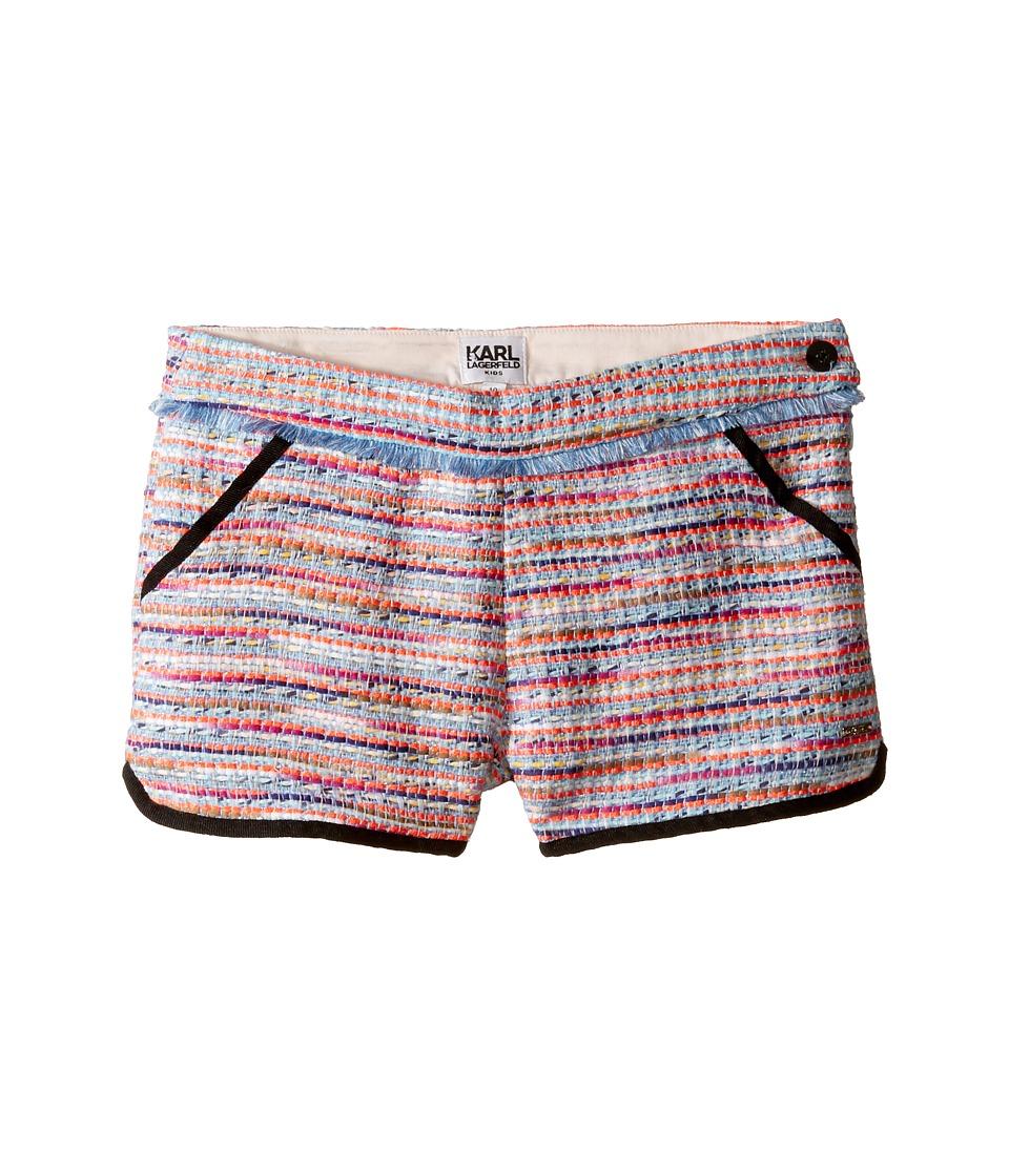 Karl Lagerfeld Kids - Tweed Shorts w/ Fringe Contrast Black Trim (Little Kids) (Multi) Girl's Shorts