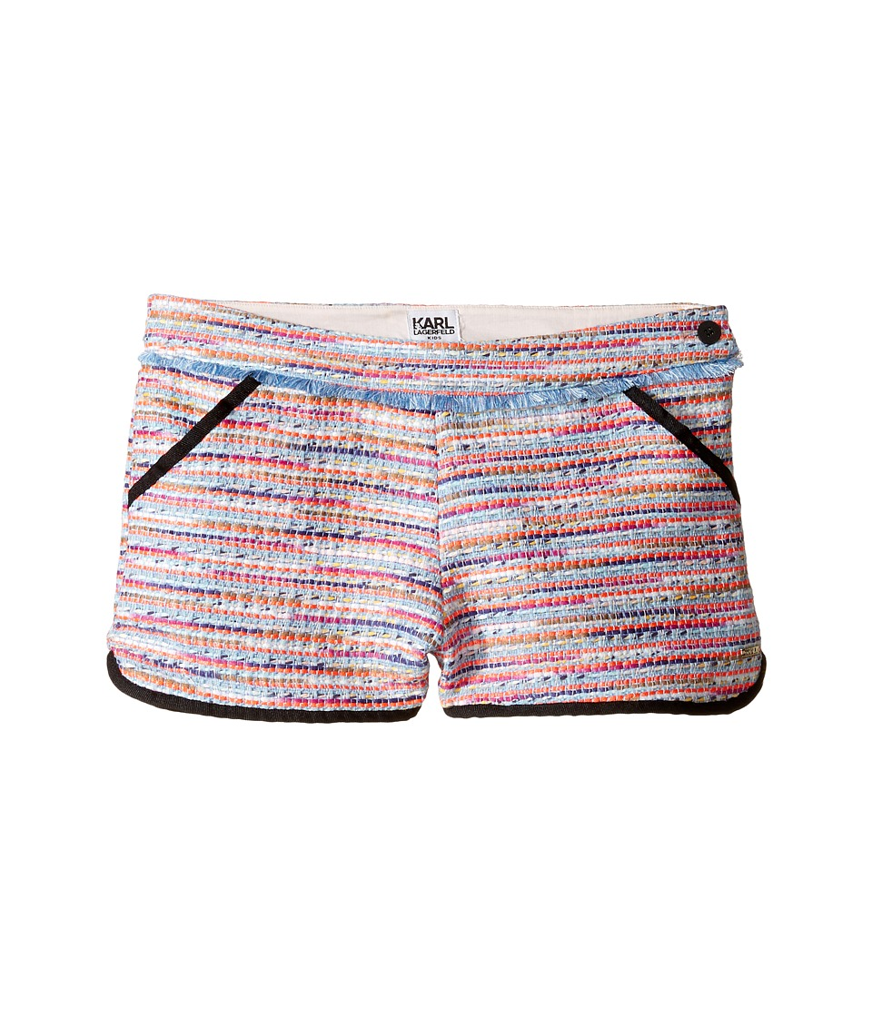 Karl Lagerfeld Kids - Tweed Shorts w/ Fringe Contrast Black Trim (Big Kids) (Multi) Girl's Shorts