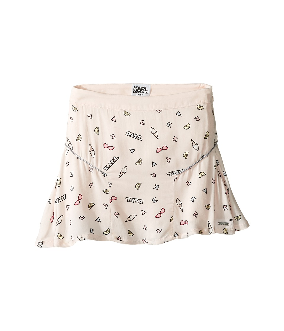 Karl Lagerfeld Kids - Viscose Skirt w/ All Over Ice Cream Print (Toddler) (Light Pink) Girl's Skirt