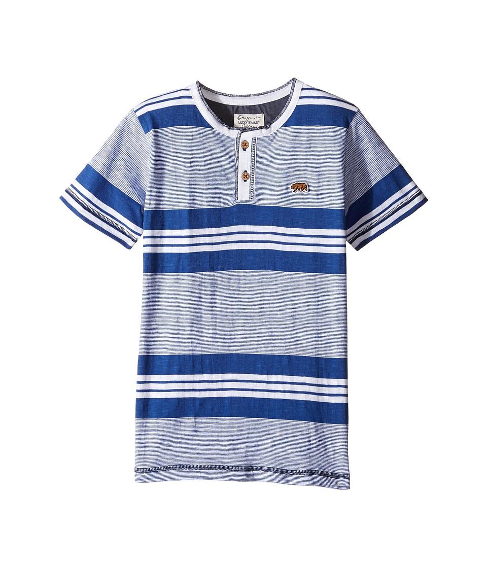 Lucky Brand Kids - Short Sleeve Jetty Henley in Slub Jersey (Little Kids/Big Kids) (White) Boy's Short Sleeve Pullover