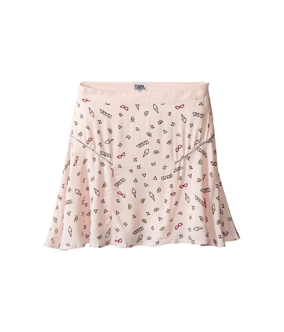 Karl Lagerfeld Kids - Viscose Skirt w/ All Over Ice Cream Print (Little Kids) (Light Pink) Girl's Skirt