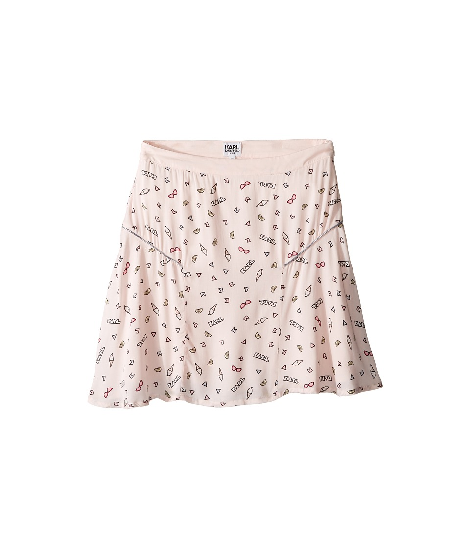 Karl Lagerfeld Kids - Viscose Skirt w/ All Over Ice Cream Print (Big Kids) (Light Pink) Girl's Skirt