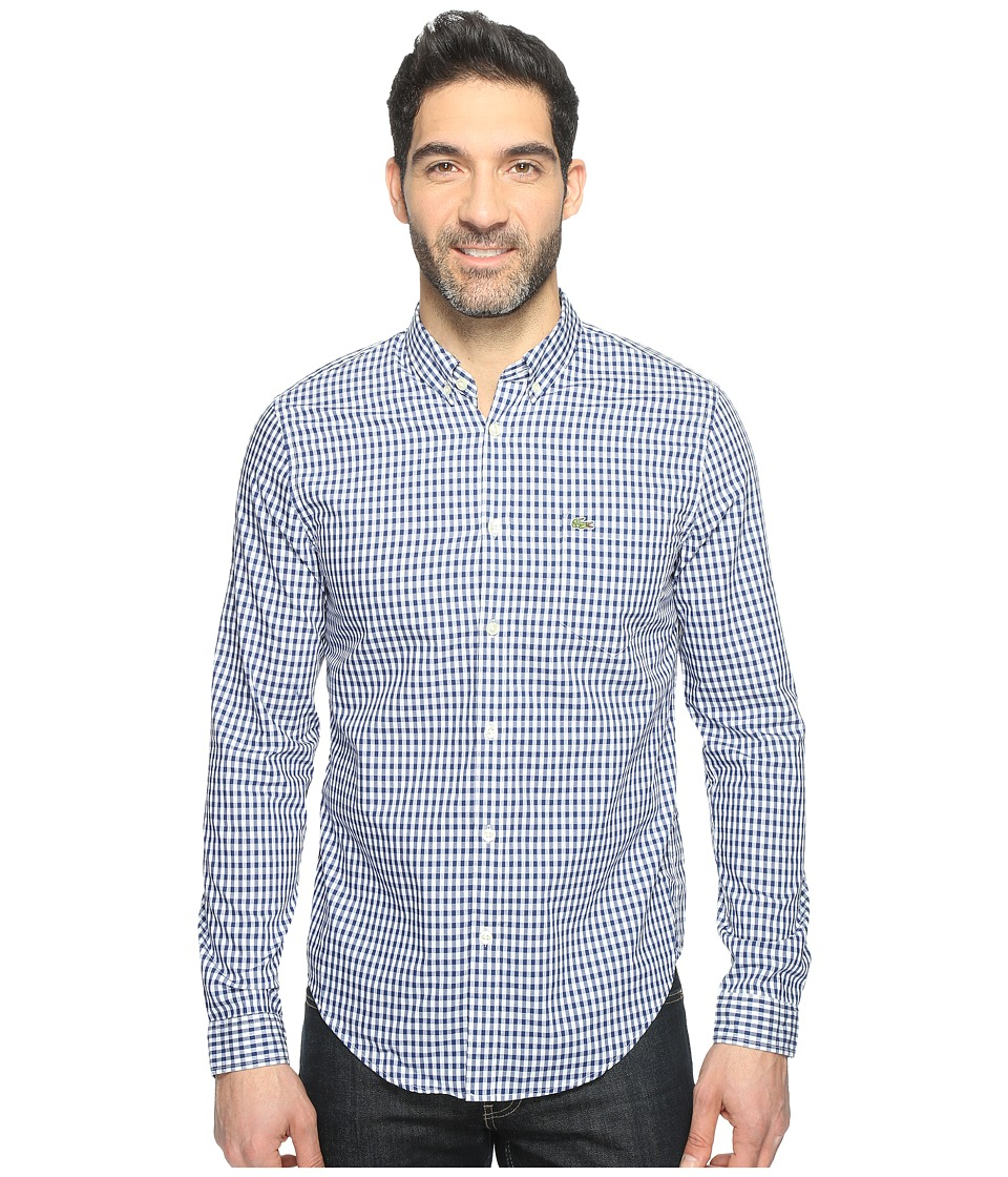 Lacoste - Long Sleeve BD Gingham Check Poplin Reg Fit (Methylene/White) Men's Clothing