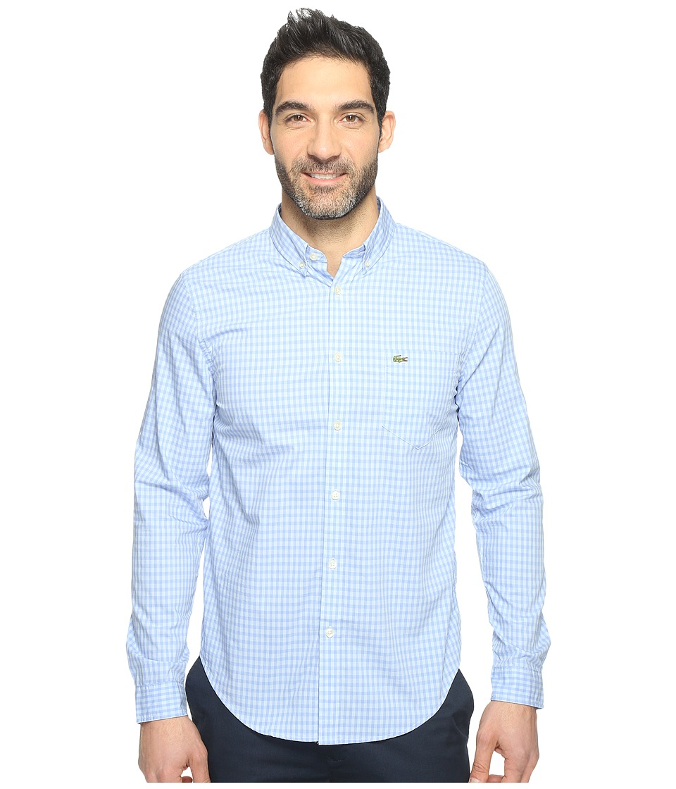 Lacoste - Long Sleeve BD Gingham Check Poplin Reg Fit (Hysope Purple/Phoenix Blue) Men's Clothing