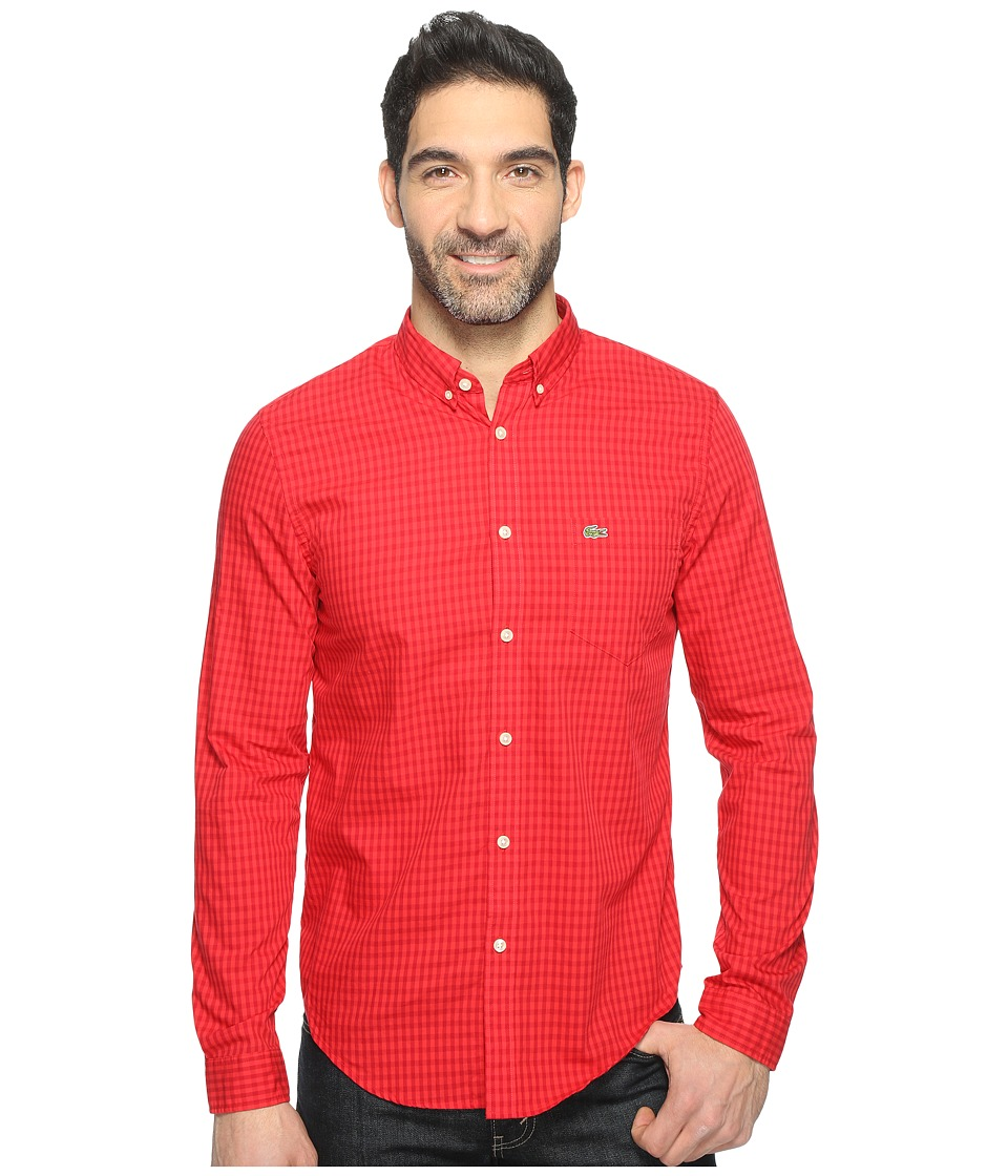 Lacoste - Long Sleeve BD Gingham Check Poplin Reg Fit (Ladybird/Grenadine) Men's Clothing