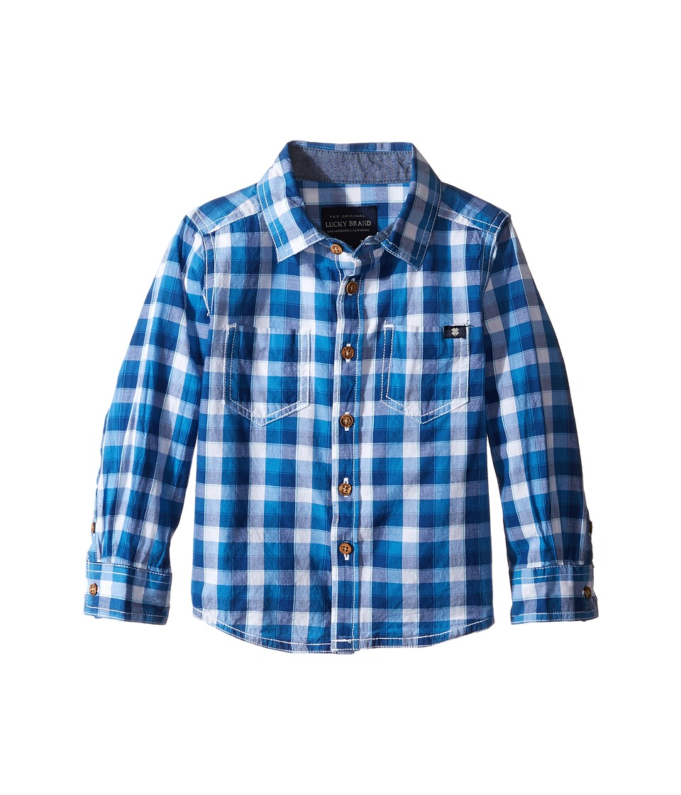 Lucky Brand Kids - Long Sleeve High Tide Woven in Poplin (Toddler) (New Blue) Boy's Long Sleeve Pullover