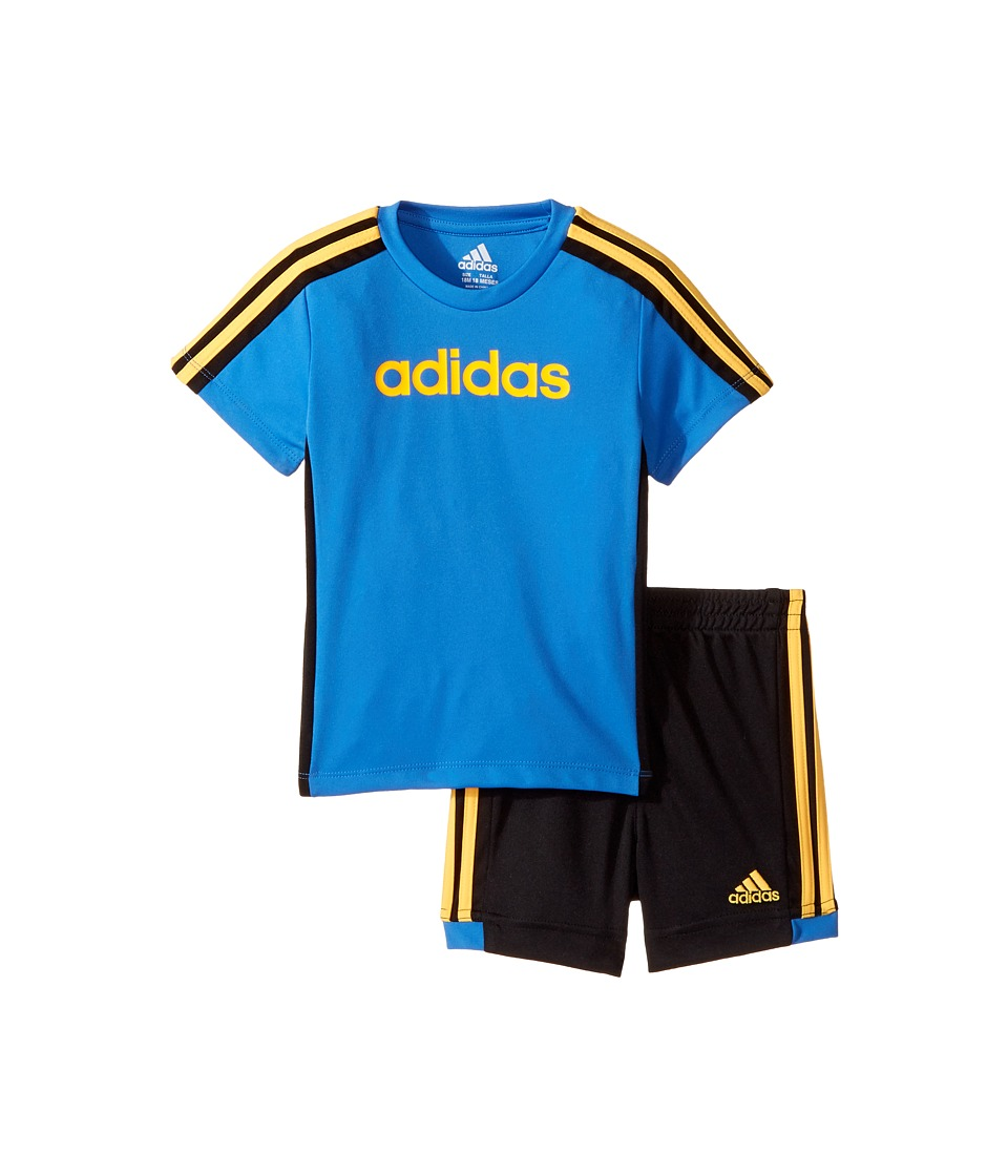 adidas Kids - Hat Trick Shorts Set (Infant) (Medium Blue) Boy's Active Sets