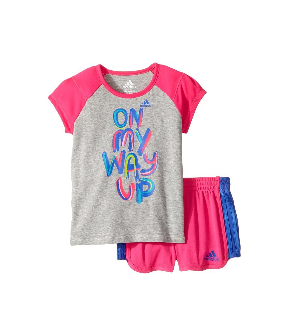 adidas Kids - On My Way Up Shorts Set (Infant) (Grey) Girl's Shorts