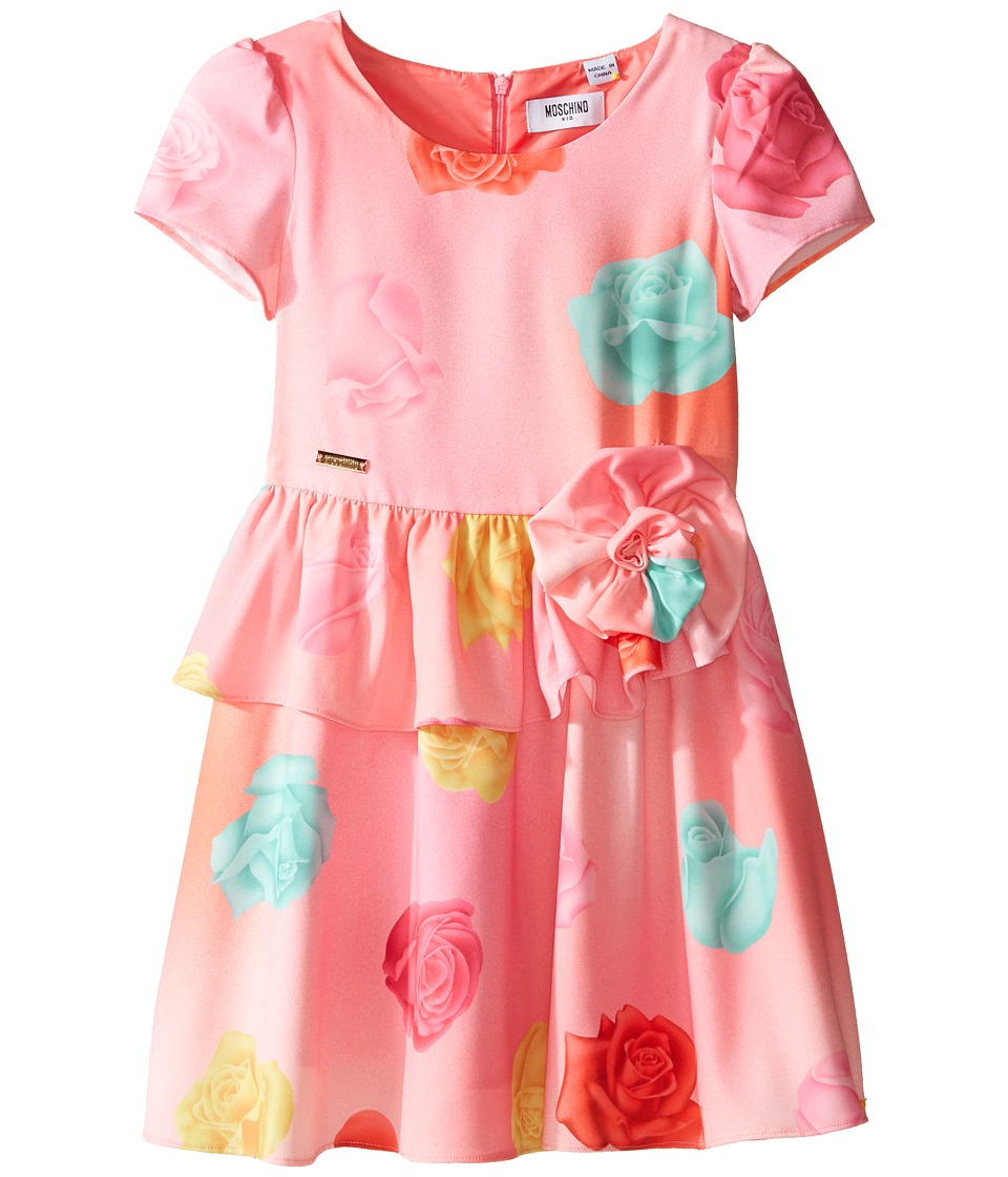Moschino Kids Short Sleeve All Over Print Fit Flare Dress