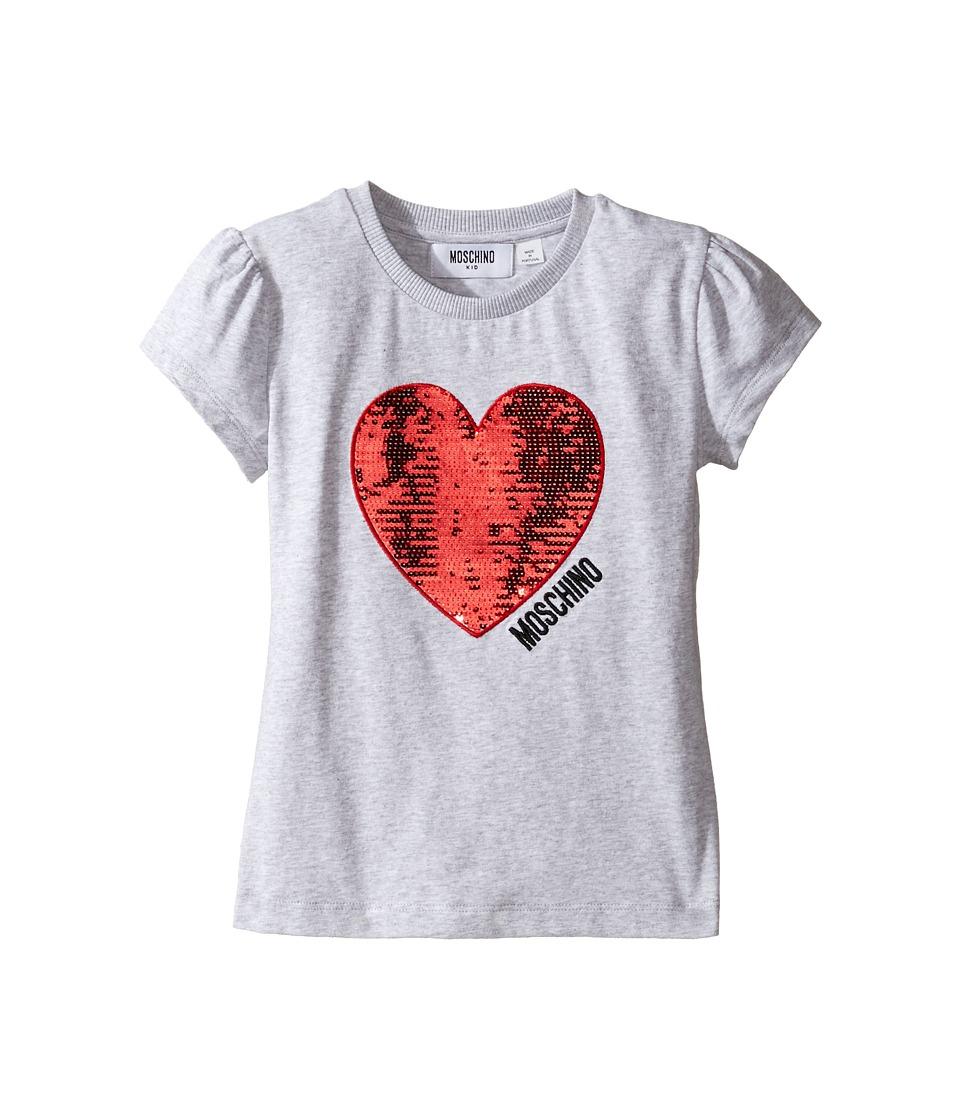 Moschino Kids - Short Sleeve Heart Logo T-Shirt (Little Kids/Big Kids) (Grey) Girl's T Shirt