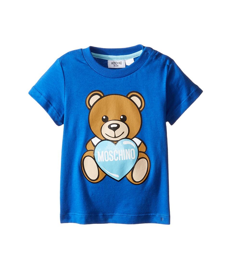 Moschino Kids - Teddy Bear and Heart Graphic Short Sleeve T-Shirt (Infant/Toddler) (Dark Blue) Girl's T Shirt