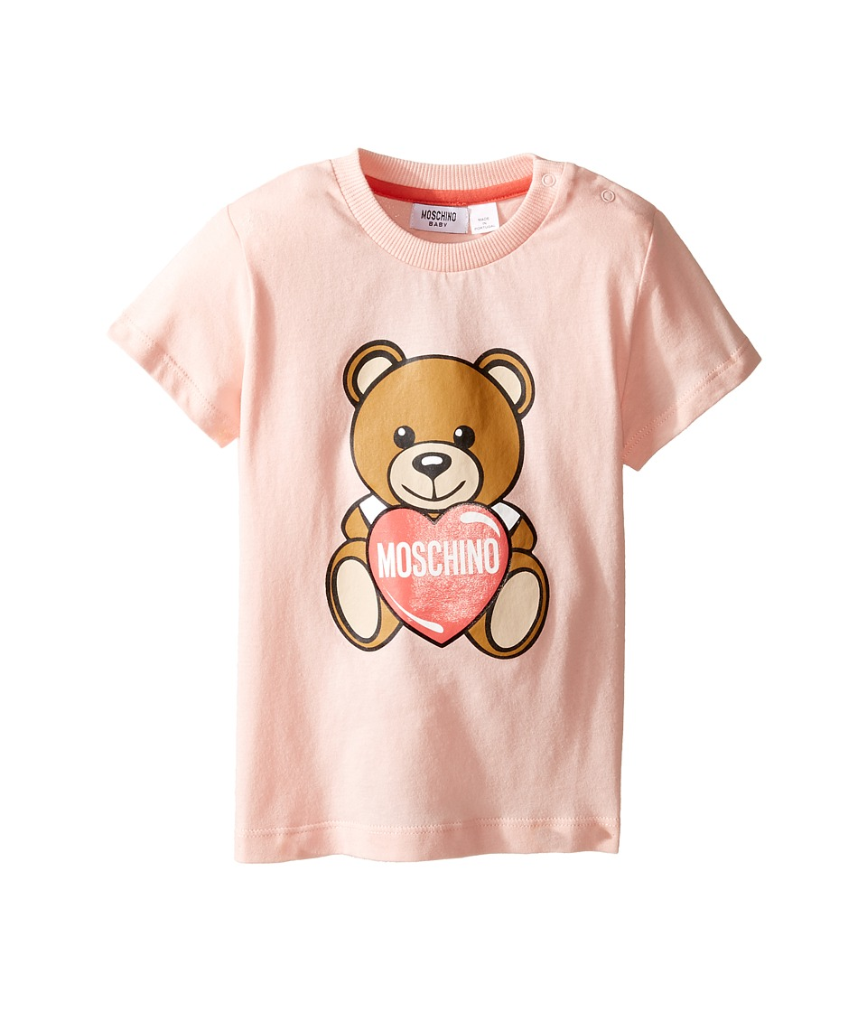 Moschino Kids - Teddy Bear and Heart Graphic Short Sleeve T-Shirt (Infant/Toddler) (Light Pink) Girl's T Shirt