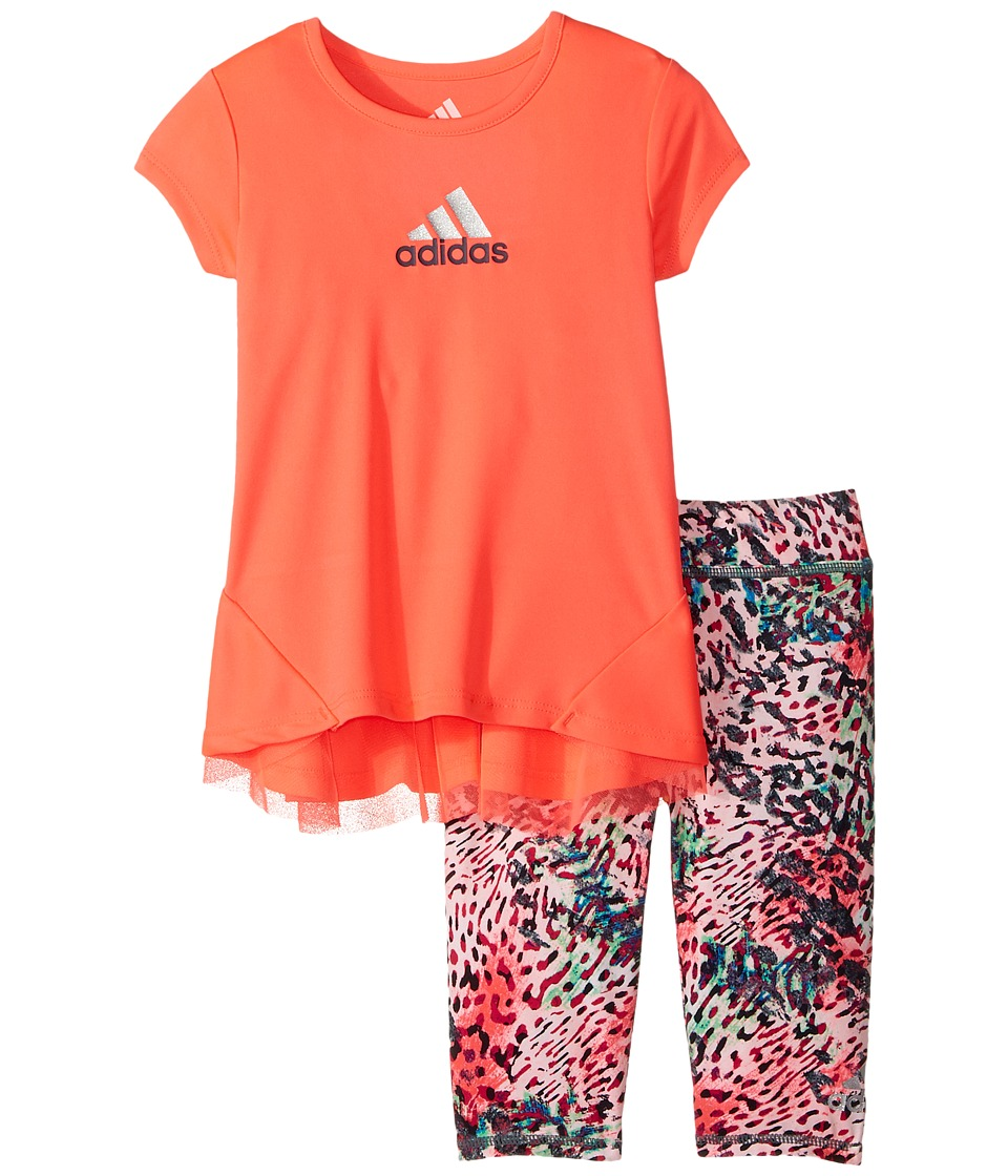 adidas Kids - Printed Capris Set (Infant) (Bright Red) Girl's Workout Sets