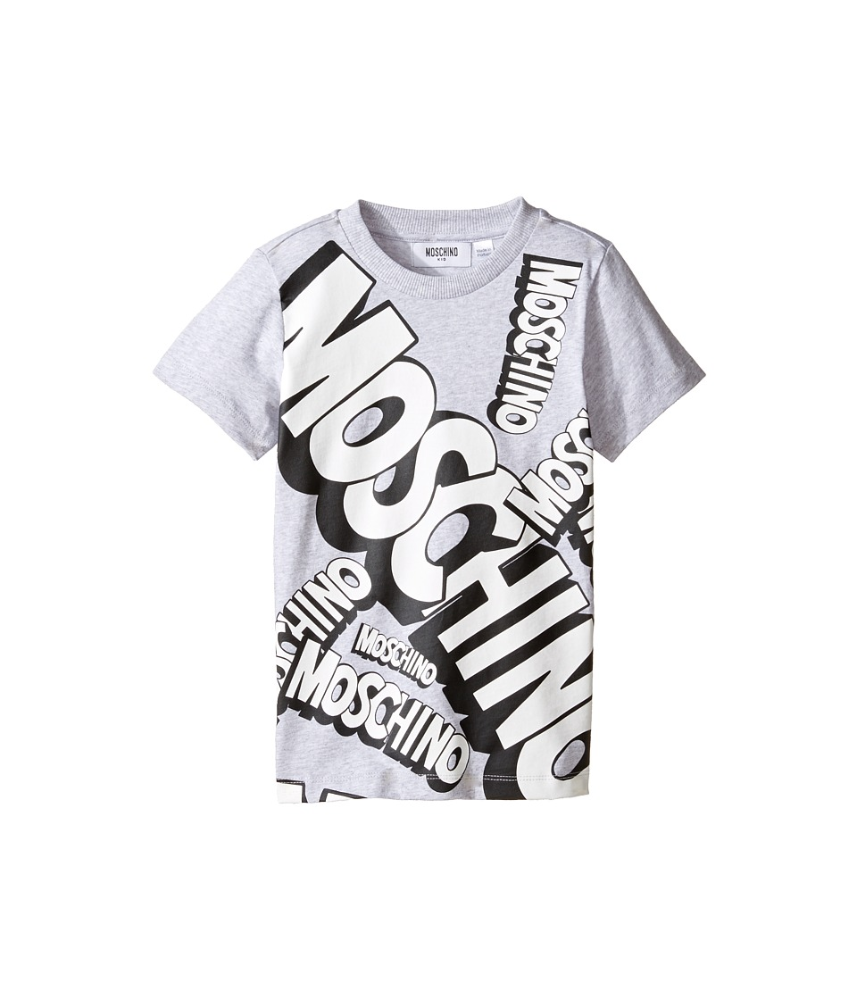Moschino Kids - Short Sleeve Logo Graphic T-Shirt (Little Kids/Big Kids) (Grey) Boy's T Shirt