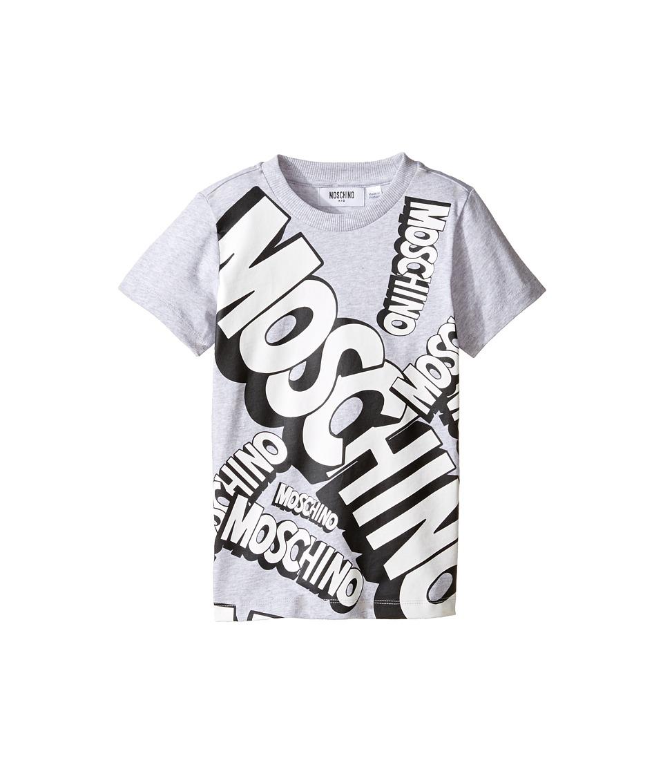 Moschino Kids - Short Sleeve Logo Graphic T-Shirt (Little Kids/Big Kids) (Grey) Boy's T Shirt