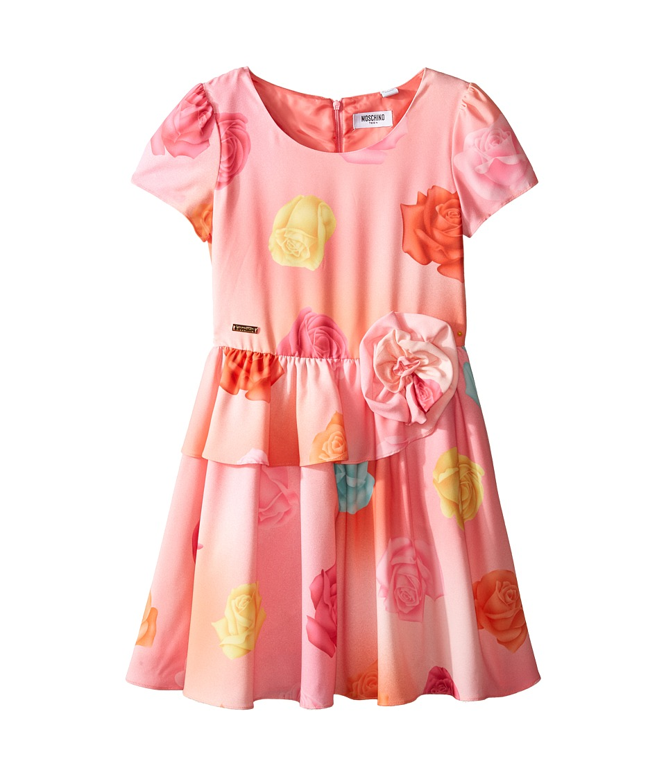 Moschino Kids - Short Sleeve All Over Print Fit Flare Dress (Big Kids) (Rose Multi) Girl's Dress
