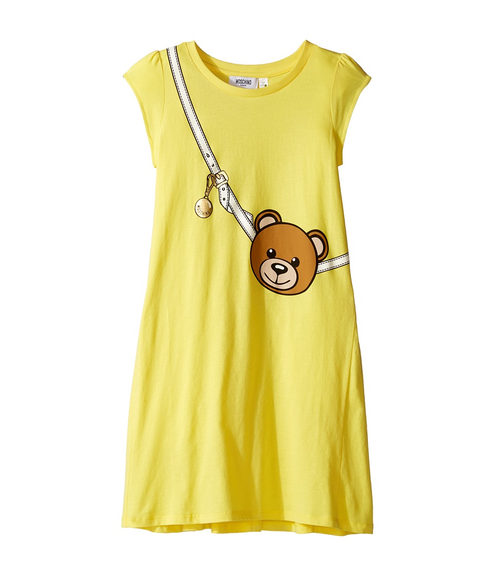 Moschino Kids - Teddy Bear Purse Graphic Dress (Big Kids) (Lemon) Girl's Dress