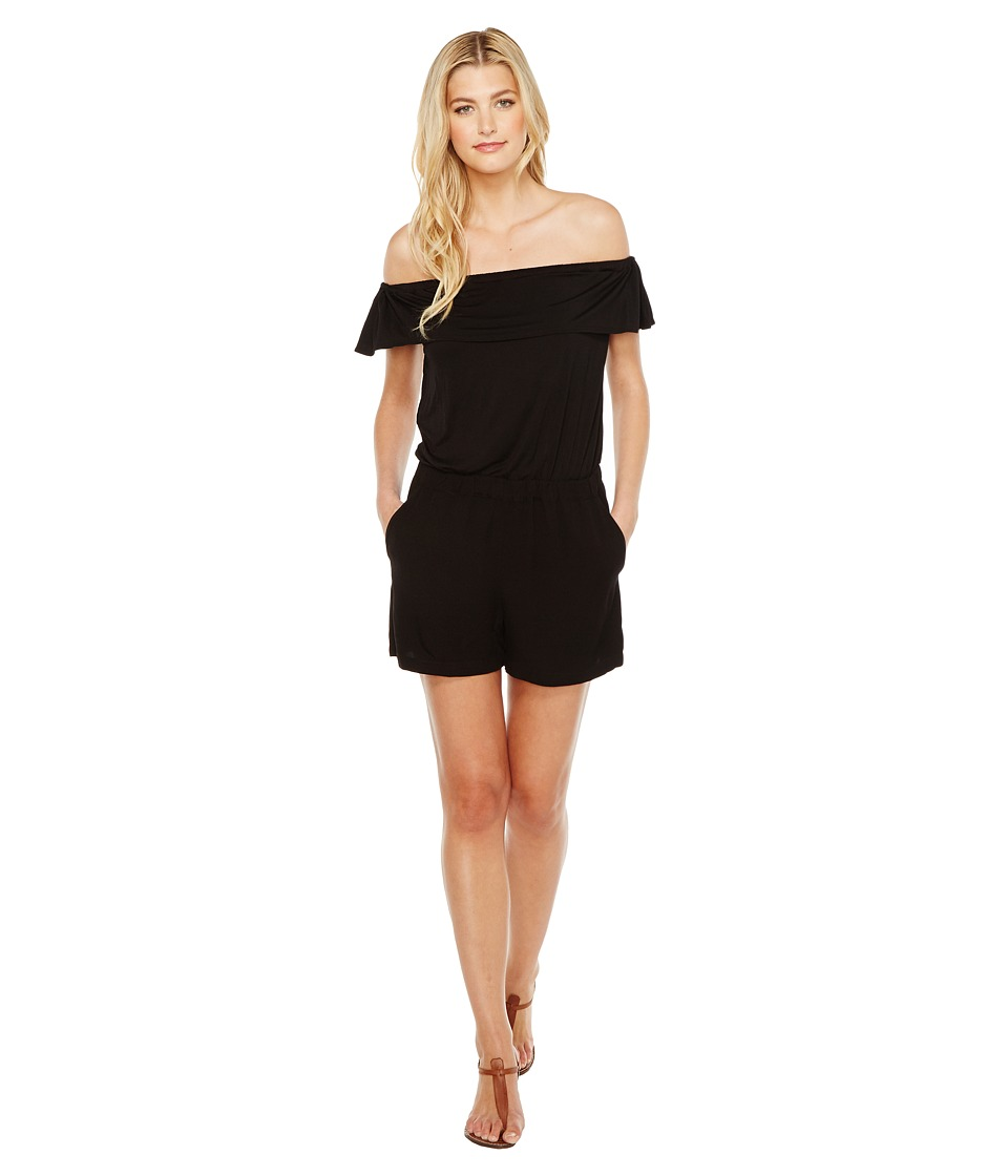 Splendid - Off Shoulder Romper (Black) Women's Jumpsuit & Rompers One Piece