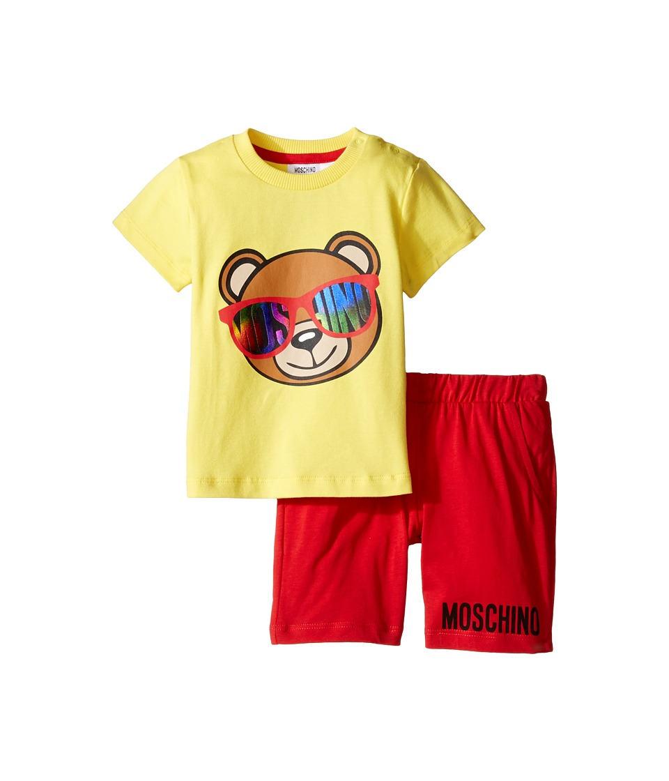 Moschino Kids - Short Sleeve Logo Teddy Bear T-Shirt Shorts Set (Infant/Toddler) (Lemon) Girl's Active Sets
